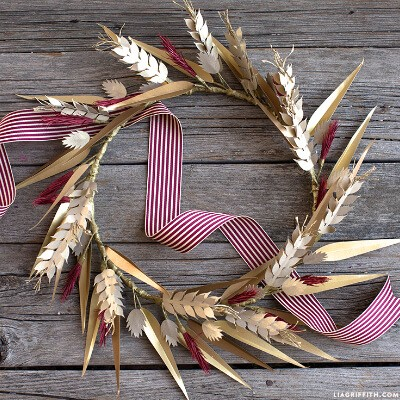 Shimmer Paper Wheat Wreath