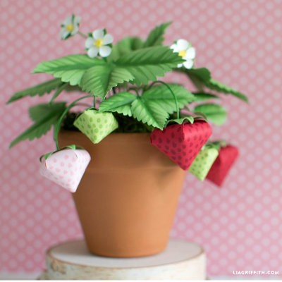 Paper Strawberry Plant Project by Lia