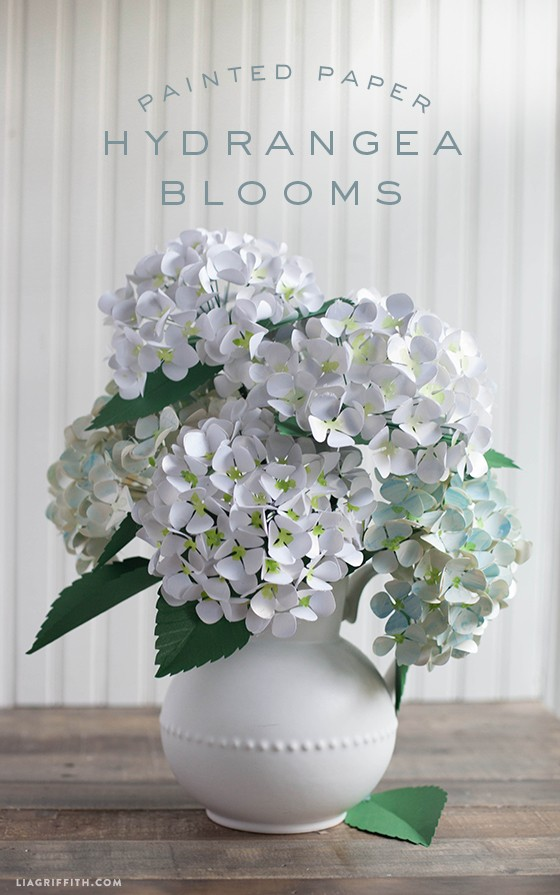 Diy metallic paper hydrangeas paperpapers blog for Painted paper flowers