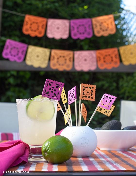 diy papel picado for a summer fiesta - Papel Picado Drink Flags1 - DIY Papel Picado for a Summer Fiesta