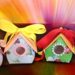 Treats inside a not so ordinary paper box – Paper Birdhouse Treat box