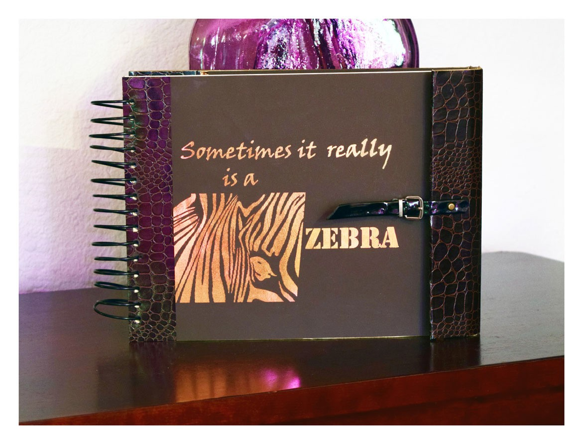 grab some paper and design your own mini album - P Papers zebra big front 3web 3 - Grab some Paper and design your own Mini Album