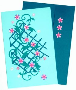 Card stock paper and flowers make for a lovely flower vine card for Mom