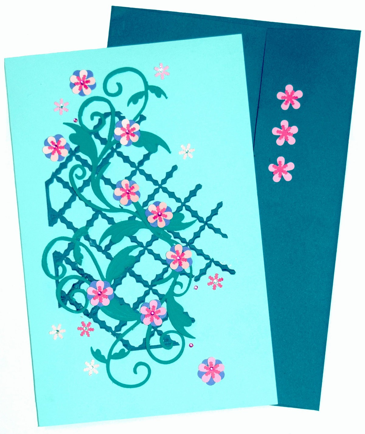 Card stock paper and flowers make for a lovely flower vine card for flowercardstock01 m4hsunfo
