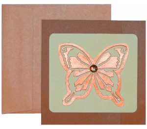 Shimmer and Recycled paper cocooned to create this beautiful butterfly card