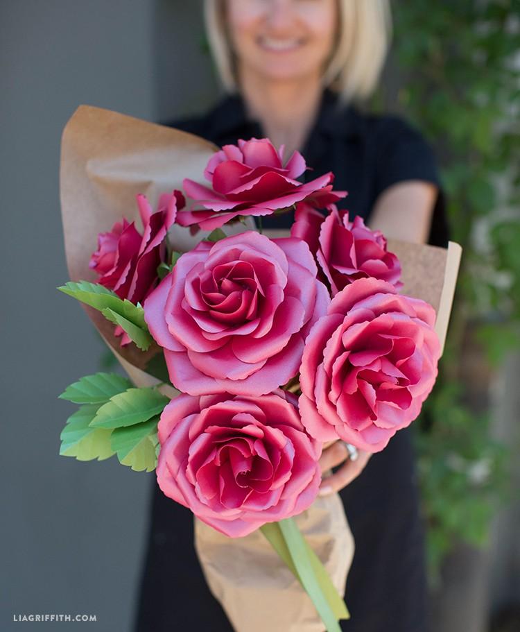 metallic paper rose flowers