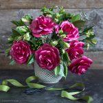 Metallic Paper Garden Rose Flower