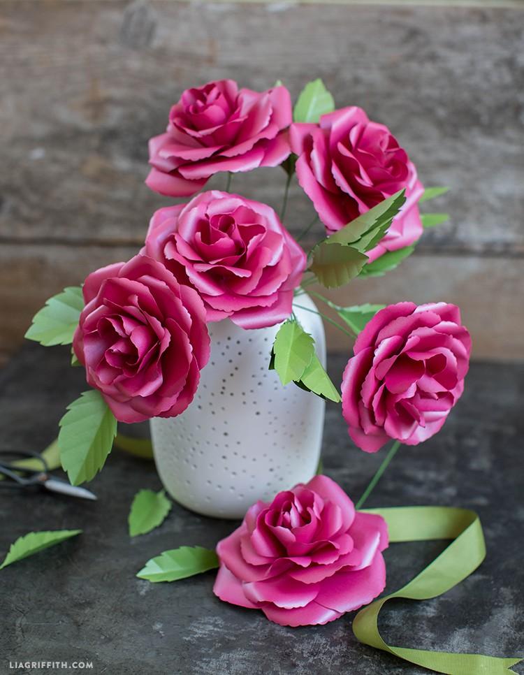 metallic paper roses