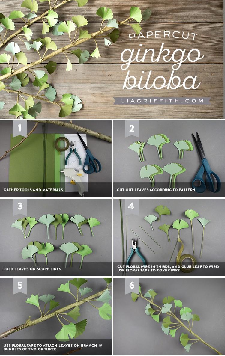 papercut ginkgo biloba branch tutorial