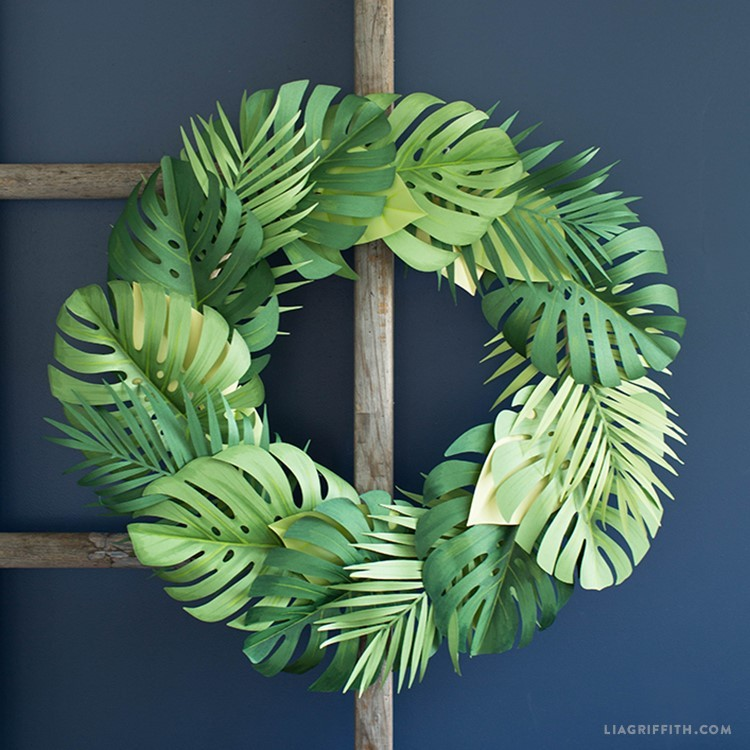 Create Simple Diy Summer Wreaths With Paper Monstera Leaves