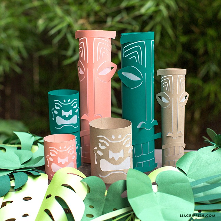 Close-up of paper tiki lanterns in wreath