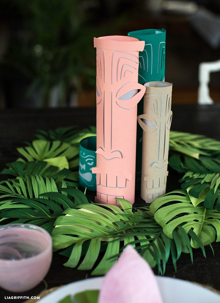 Paper tiki lanterns in paper wreath