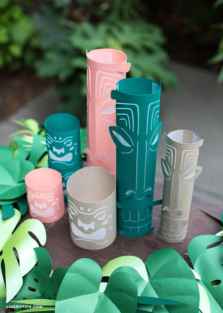 Paper tiki lanterns on table