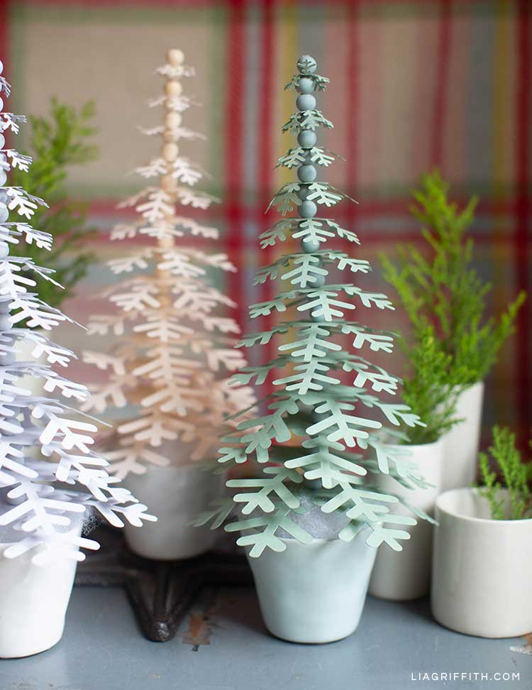 paper holiday trees in tiny pots