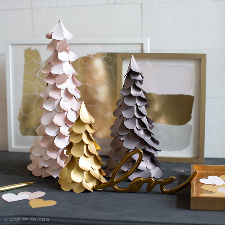 Heart_Trees_1 valentine's day metallic paper projects - Heart Trees 1 - Valentine's Day Metallic Paper Projects